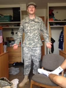 And so it continues...Son's best friend proudly displaying his new ROTC duds at college.