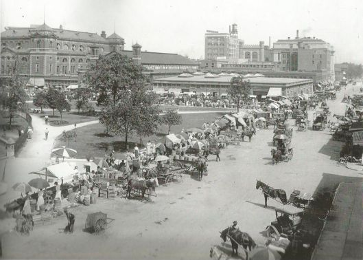 "Image of Alabama and Market street stands circa 1912. Families who had ""truck gardens"" came here to sell their wares"