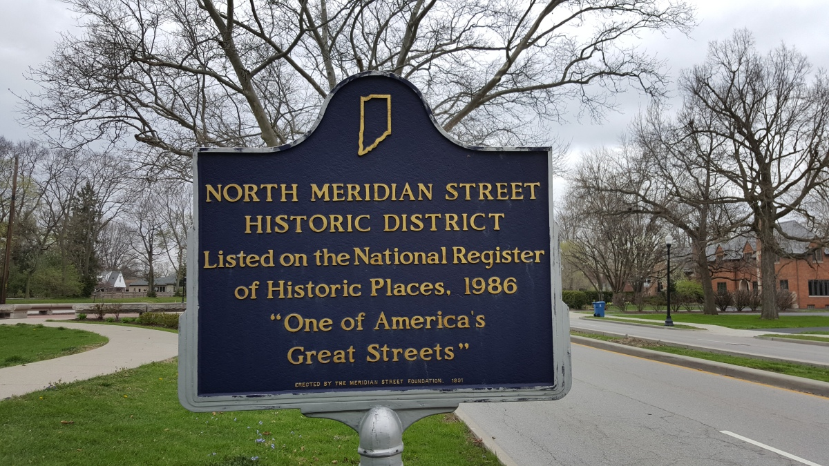Signs can be seen upon entering or exiting the historic stretch of Meridian Street